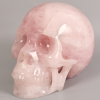 Big size 7inch Natural rose quartz Skull figurine Handmade carving human head statue Gemstone Crystal home decoration