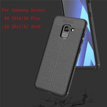 купить Luxury Shockproof Soft TPU Case For Samsung Galaxy A5 A7 A8 2018 A8 Plus Leather Phone Case For Samsung Galaxy A8 Plus A8+Cover дешево