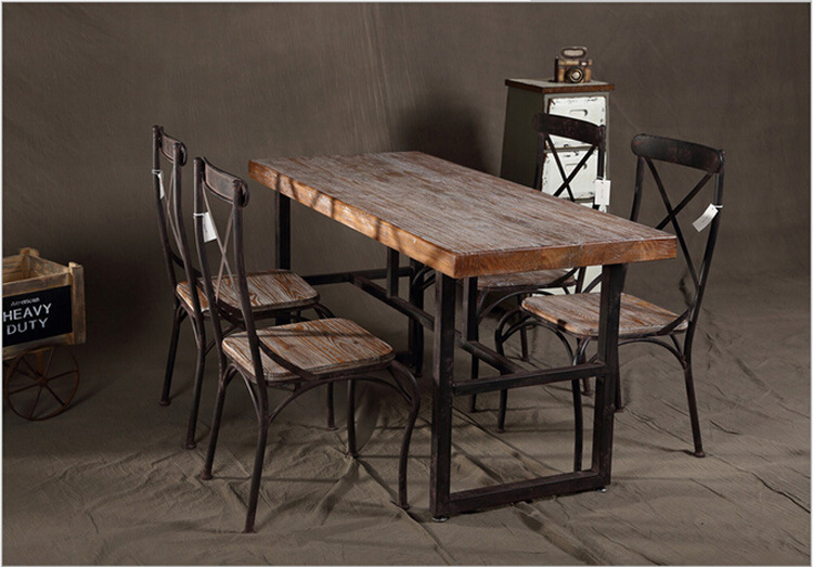 Specials American country retro dinette combination Iron old rectangle  solid wood furniture(China (Mainland