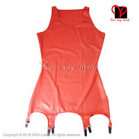 Red Latex Dress With Garter Suspenders Girdle Rubber Straps Grips Clip Top Latex Rubber Dress Plus