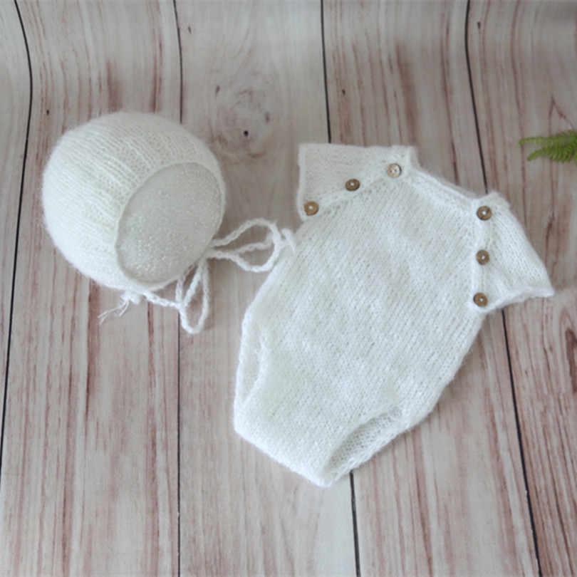 0ff2dbbfef9 ... Vintage Knitted Beige Baby Romper Set Pattern Newborn Hat Prop Knit Baby  Clothes Bonnet Girls or ...