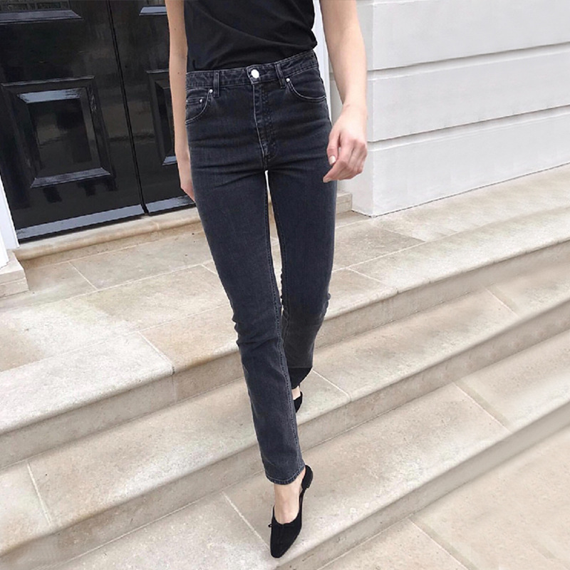 Coal Grey Straight denim jeans for woman High quality