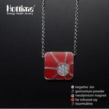 Gotas de aceite de proceso 4en1 bio elementos energía magnética del acero inoxidable 316l collares colgantes de los hombres de hip hop con rojo (color)