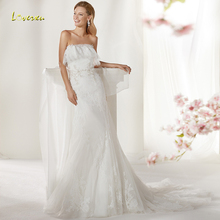 Loverxu Mermaid Wedding Dress Sleeveless Bride Dress