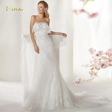 Loverxu Mermaid Wedding Dress Sleeveless Bride Dress