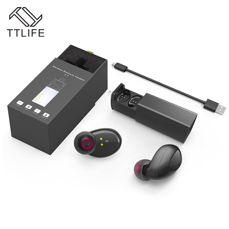 TTLIFE Mini Wireless Bluetooth 4.1 Stereo Earphone TWS Sports Handsfree Headphone with Power Bank for Phones Earbuds Xiaomi