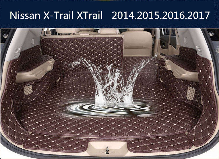 Auto Cargo Liner Car Trunk Mats For Nissan X-Trail XTrail 2014.2015.2016.2017 Surrounded by all Carpets Embroidery Leather Mats custom fit car trunk mats for nissan x trail fuga cefiro patrol y60 y61 p61 2008 2017 boot liner rear trunk cargo tray mats