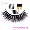 Free shipping Lilac with fashion style packaging high quality 100% real 3d mink fur lashes,mink strip eyelashes