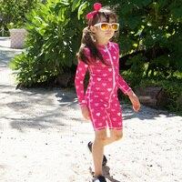 2017 Nouveau Maillot de Bain Rose Manches Longues One Piece Costume De Natation Costumes marque Vêtements De Plage pour Fille Garçon pour Enfants Bleu Maillots De Bain filles