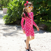 2017 New Brand Beach Wear For Girl Boy Pink Swimsuit Long Sleeves One Piece Suit Swimming