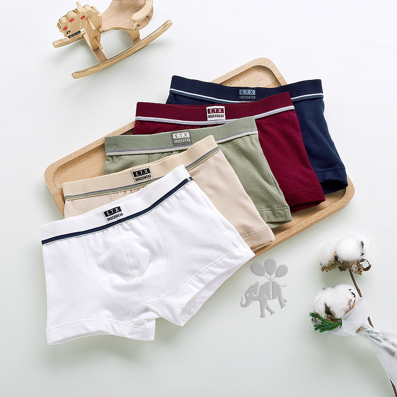 New Children High Quality Solid Boys Cotton Boxer Shorts Panties Kids Underwear For 2-16 Years Old Teenager 5pcs/lot