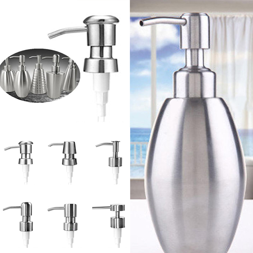 Stainless Steel Soap Pump Nozzle Liquid Lotion Dispenser Replace Jar Tube