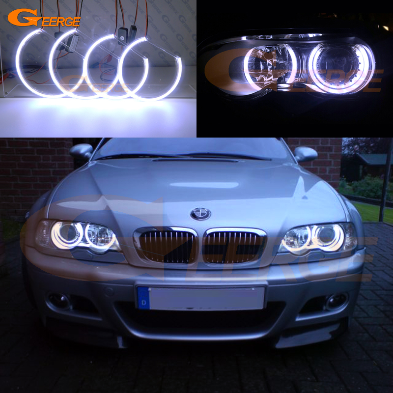 For BMW E46 M3 with HID Xenon headlight 2001-2006 Excellent Ultra bright illumination COB led angel eyes kit halo rings super bright led angel eyes for bmw x5 2000 to 2006 color shift headlight halo angel demon eyes rings kit