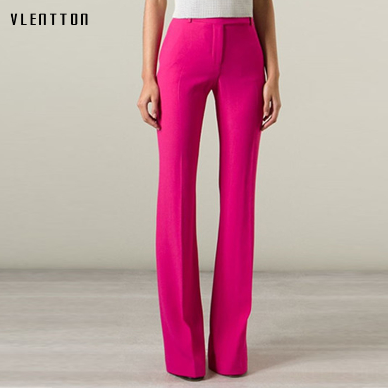 2018 New Spring Autumn Flare Pants Women Sexy Skinny Pant High Waist Blue Black Pink Trousers Party Bodycon Pants