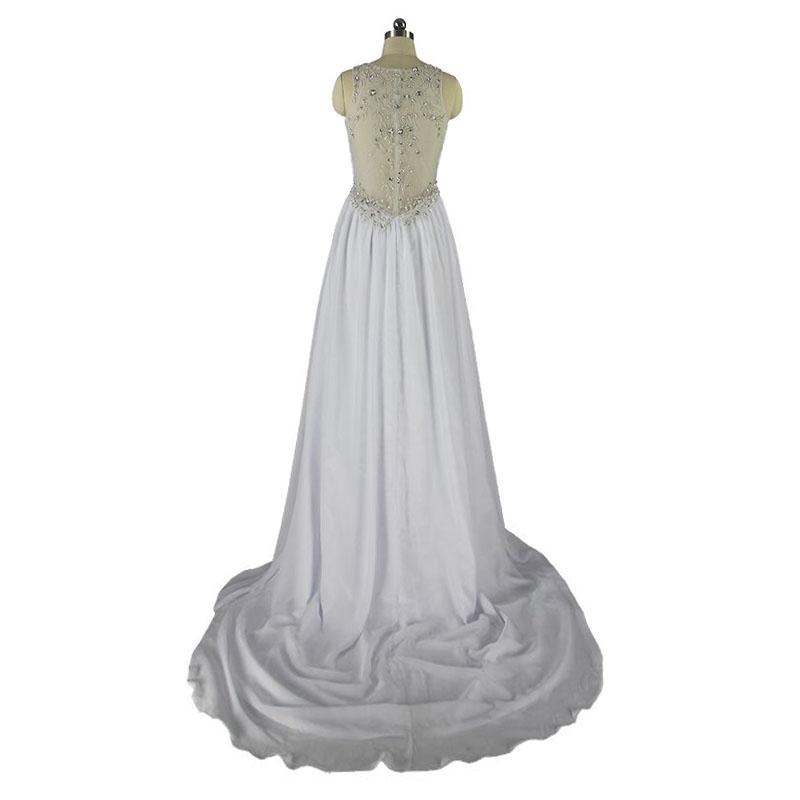 A-line V-neck Chiffon Beaded Vintage Wedding Dress