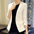 Marca coreana elegante Slim Fit Lace Tweed Blazer brasão mulheres Fall 2015 nova moda três mangas trimestre ternos casuais