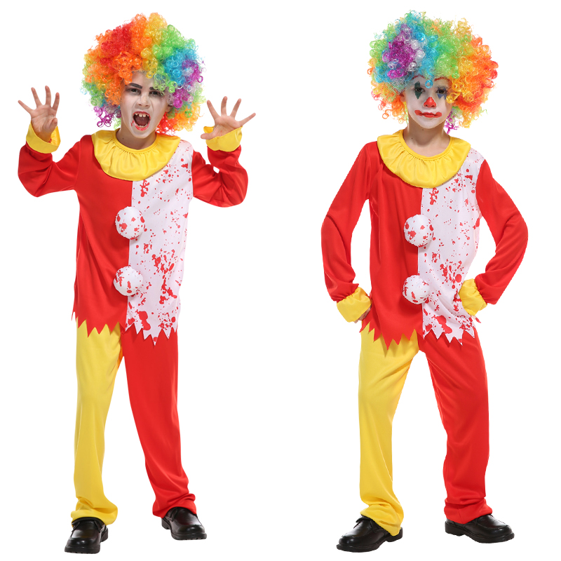 Halloween Cosplay Costume Circus Clown For Boy Girl Costume for Children Play dress up Fancy Clown 4 to 11 Years Old