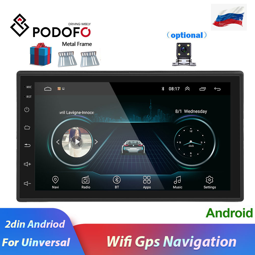 Podofo 2 Din Car Radio Android Universal GPS Navigation Bluetooth Touchscreen Wifi Car Audio Stereo FM USB Car Multimedia MP5-in Car Radios from Automobiles & Motorcycles