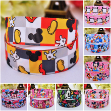 7/8'' (22mm) Ruban Mickey Minnie Cartoon Character printed Grosgrain Ribbon party decoration satin ribbons OEM 10 Yards 7 8 22mm owl cartoon character printed grosgrain ribbon party decoration satin ribbons oem 10 yards