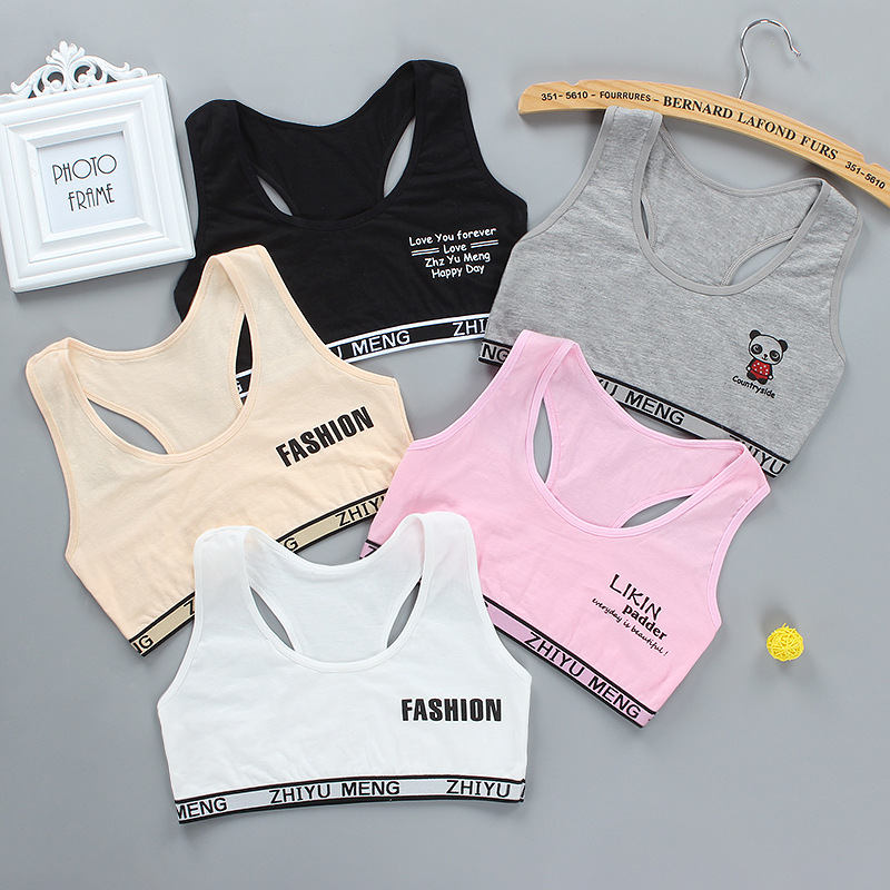 Letter Teens Girls Sports Bra Puberty Underwear Wireless Teenager Girls Sport Bra Chest Pad Cotton Young Girls Training Bra