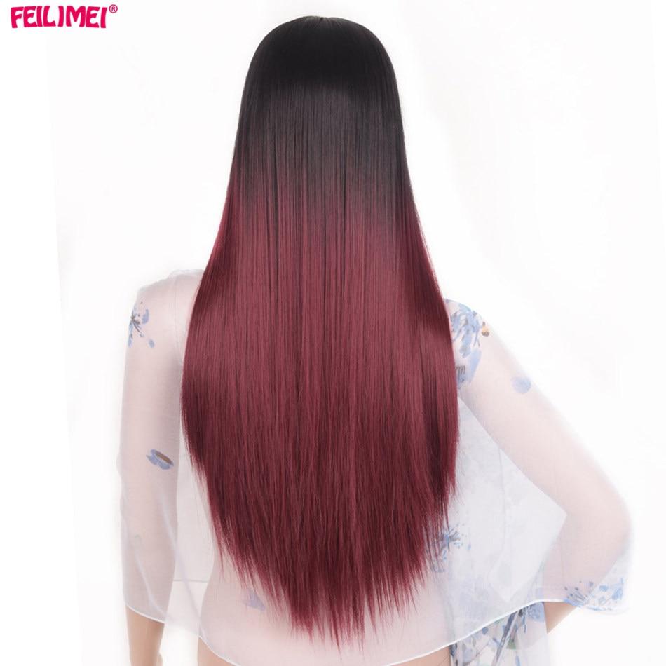 Feilimei Μέση Μέρος Συνθετική Περούκα Ombre - Συνθετικά μαλλιά - Φωτογραφία 3