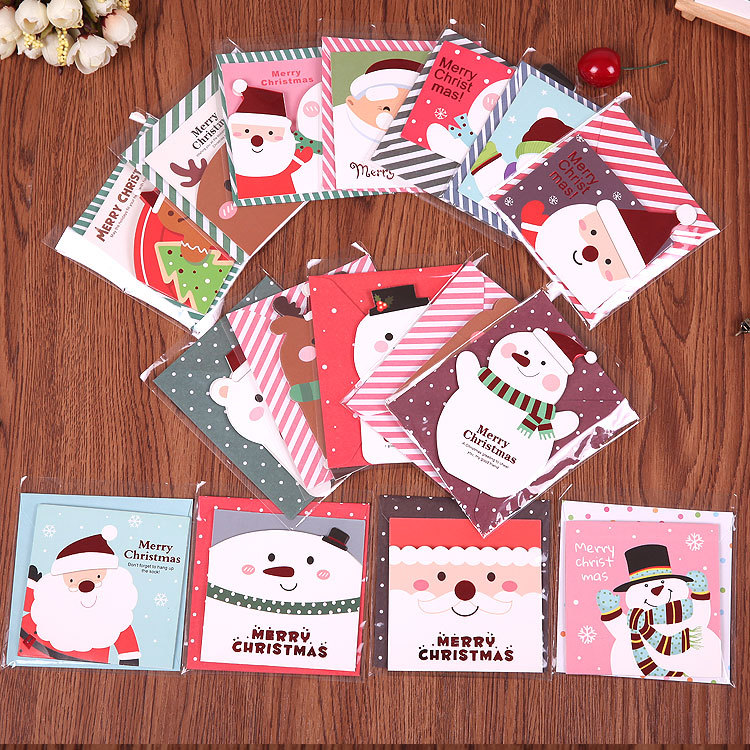 ФОТО 128pcs/set fresh Mini Christmas cards cartoon blessing cards wholesale message card snow man greeting card for Christmas day