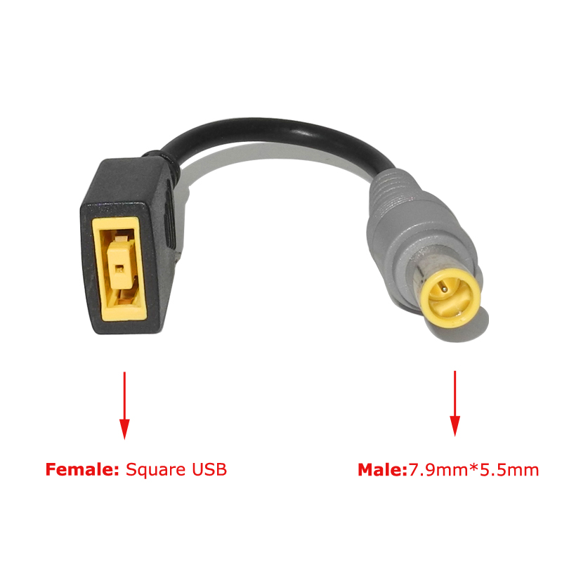 DC Square USB Plug Female To 7.9x5.5mm Male Power Adapter Converter Connector Cable Cord For Lenovo Thinkpad Charger Adapter