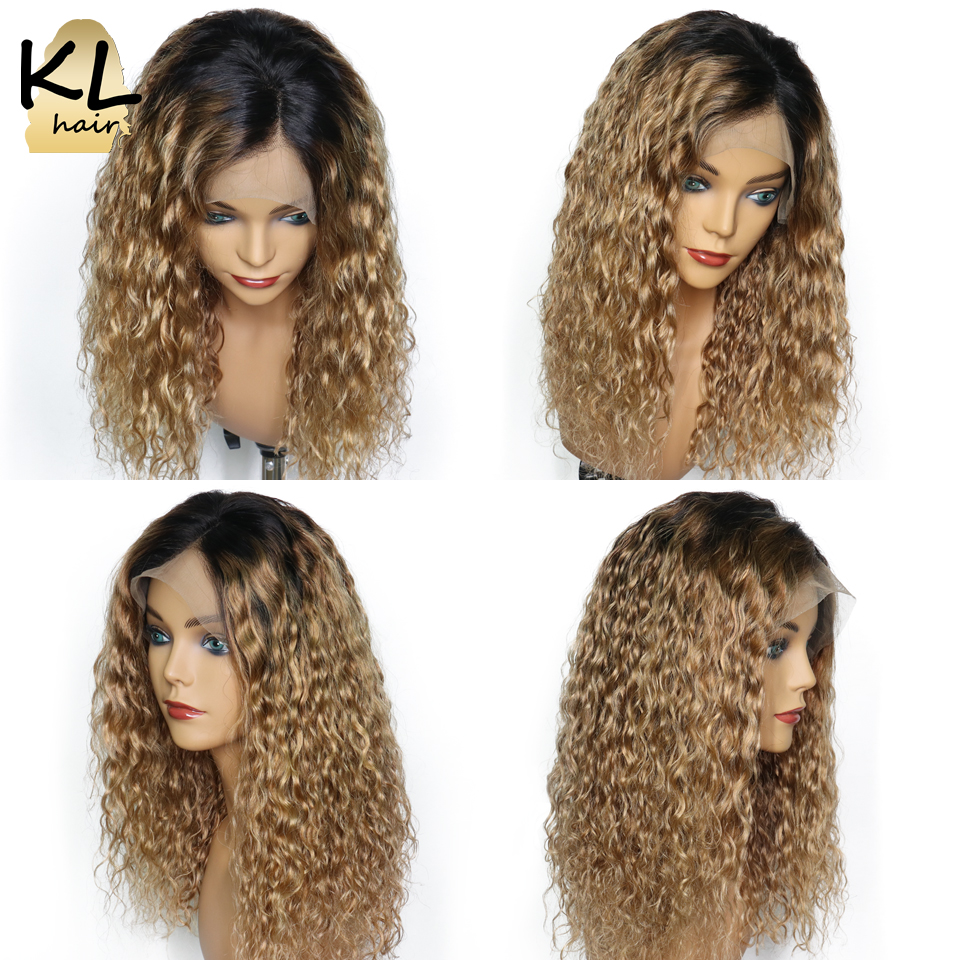 KL Lace Front Human Hair Wigs For Black Women Curly T1B 27 Brazilian Remy Hair Ombre