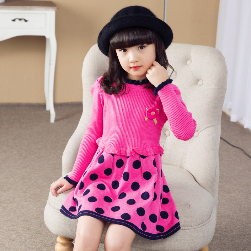 2018 New Teenage Girls Sweater Dresses Kids Autumn Winter Girls Pullovers Dress Children Knit Dress Girls Back to School Outftis twist back crop chunky knit sweater