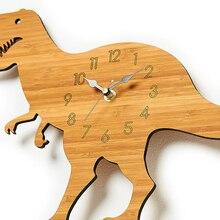 Wood Wall Clock Modern Design Creative Dinosaur 3D Stickers Tyrannosaurus Rex Watch Wall Clocks Home Decor Silent
