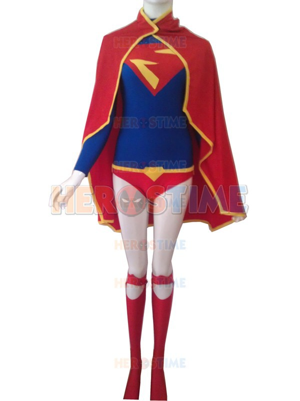Supergirl kostým Halloween Cosplay Červený a modrý trikot Design Spandex Supergirl Superhero kostým Hot selling dress