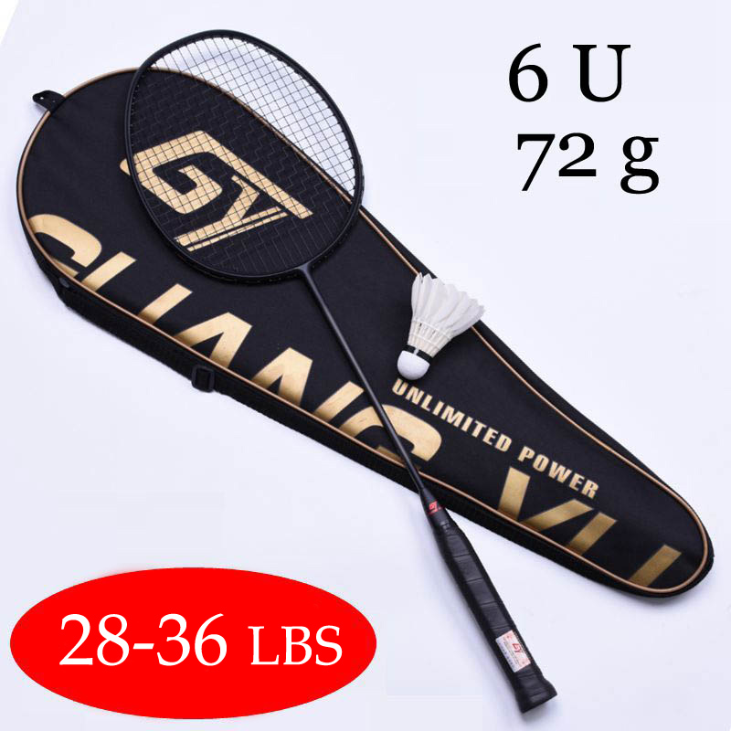 Ultralight 6U 72g Strung Badminton Racket Professionele Carbon Badminton Racket 22-28 LBS Gratis Grips En Polsband