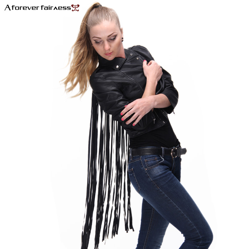 Autumn Women Jacket Faux   Leather   Back Hollow Out Tassel Jackets Fashion Motorcycle PU Short Jacket chaquetas mujer NC-536