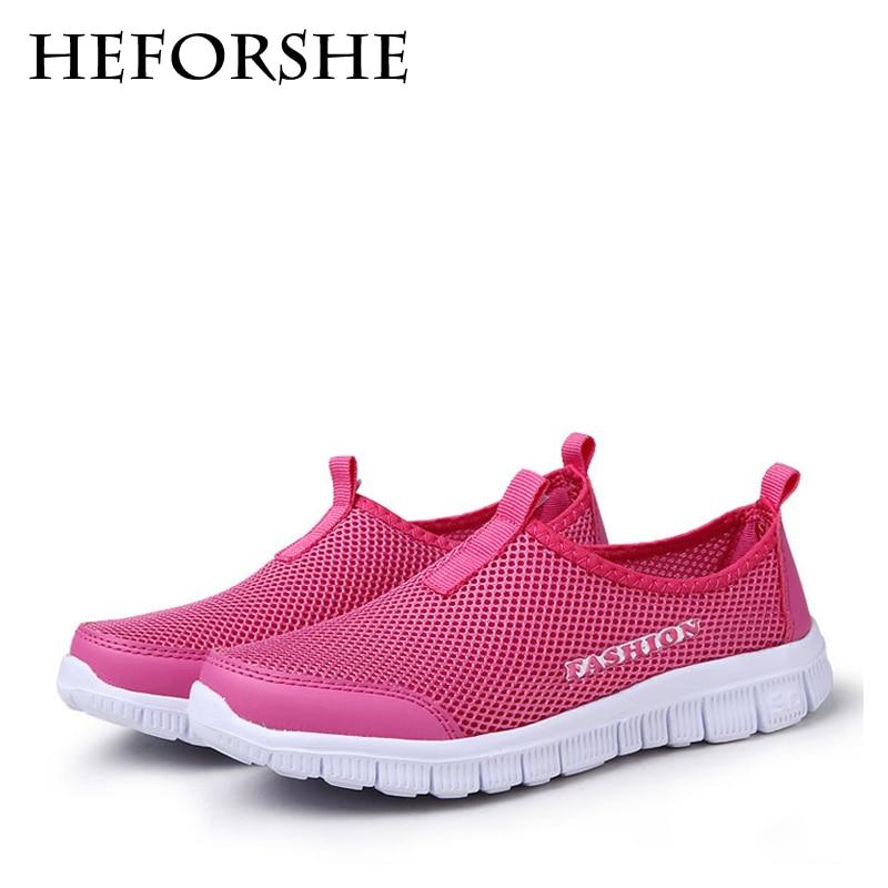 HEFORSHE Women Casual Shoes 2017 New Arrival Women's Fashion Air Mesh Summer Shoes Female Slip-on Plus Size 34-41 Shoes MXR042