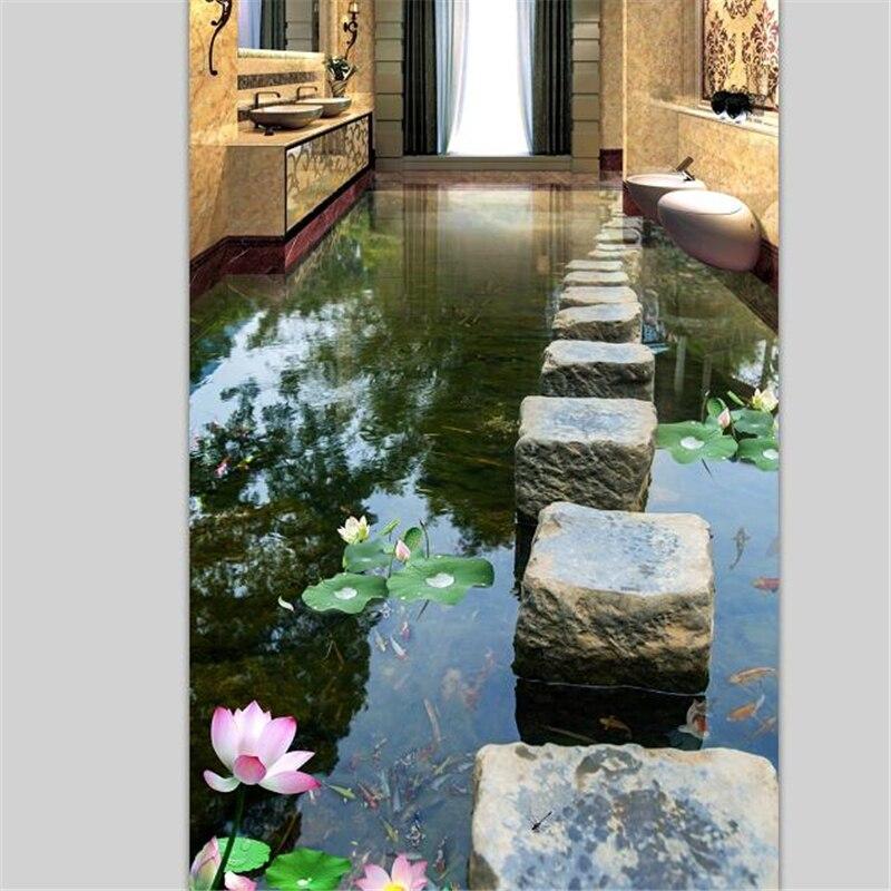 Beibehang пользовательские полы живопись 3d фото украшения рисовать небольшой камень Pier Лотос воды 3D Полы плитки рисовать