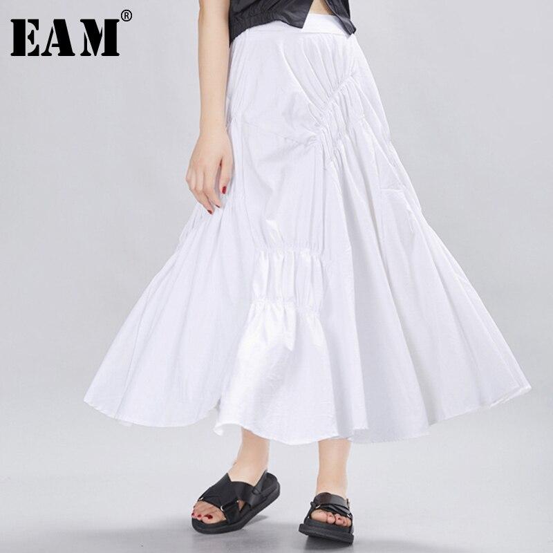 [EAM] 2020 New Spring Summer High Elastic Waist Brief Pleated Ruffles Personality Half-body Skirt Women Fashion Tide JX690