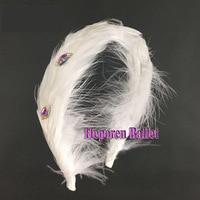 White Swan Lake Ballet Feather Headwear In Ballet Dance Wear Crystal Decoration,Nutcracker Ballet Hair Accessory Headdress