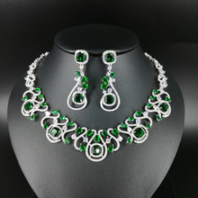 2018 new fashion luxury retro GREEN CZ zircon necklace earring set,wedding bride dinner party banquet dress popular jewelry SET