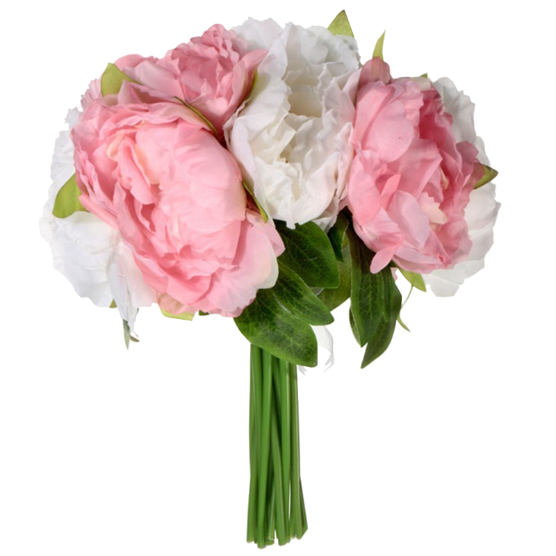 new white u0026 pink 10 heads artificial silk flower peony flowers wedding bouquet bridal party