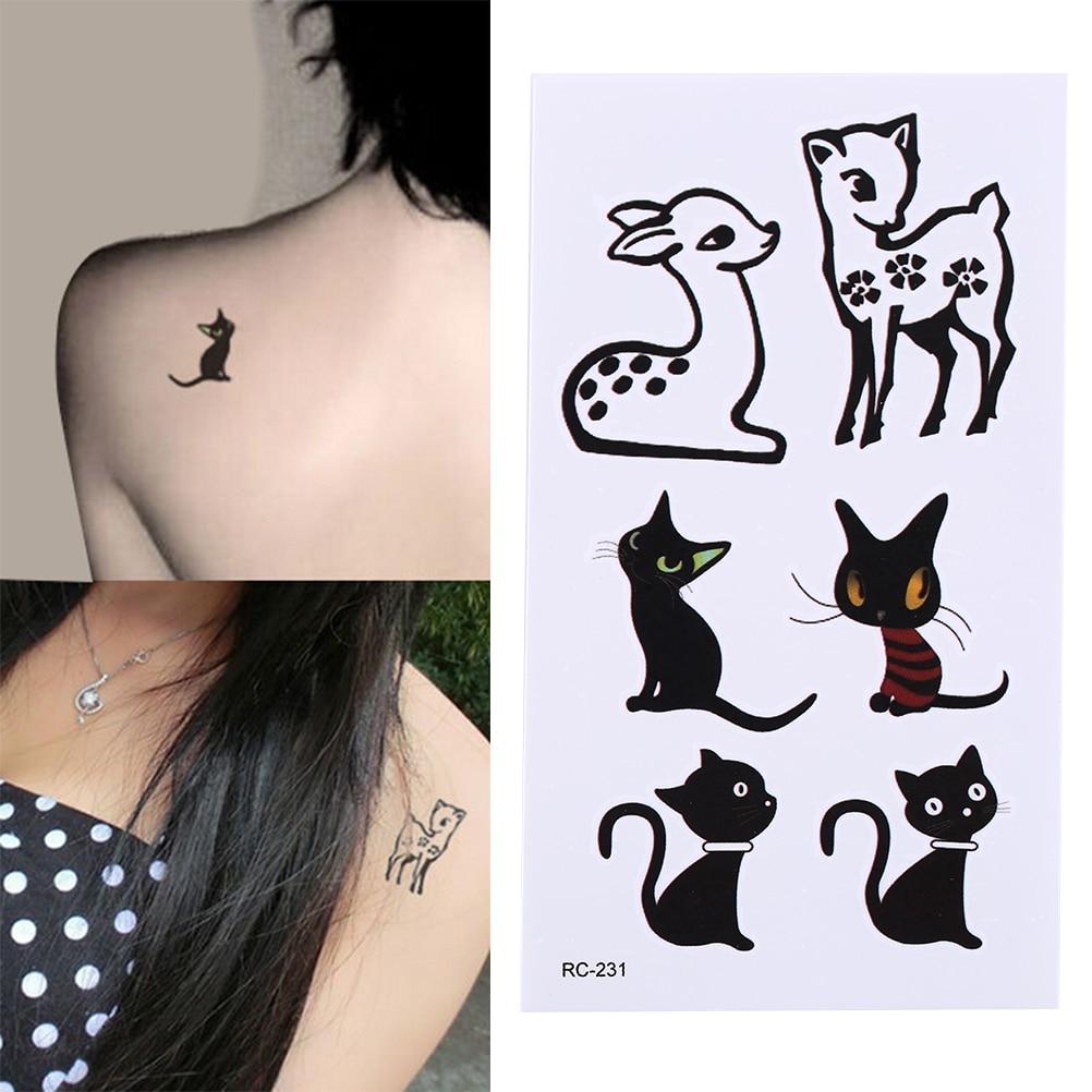 1 Sheet Black Waterproof Stickers Temporary Tattoo Stickers Animal Cat Deer Glitter Tattoo Sticker Body Art 10.5*6cm