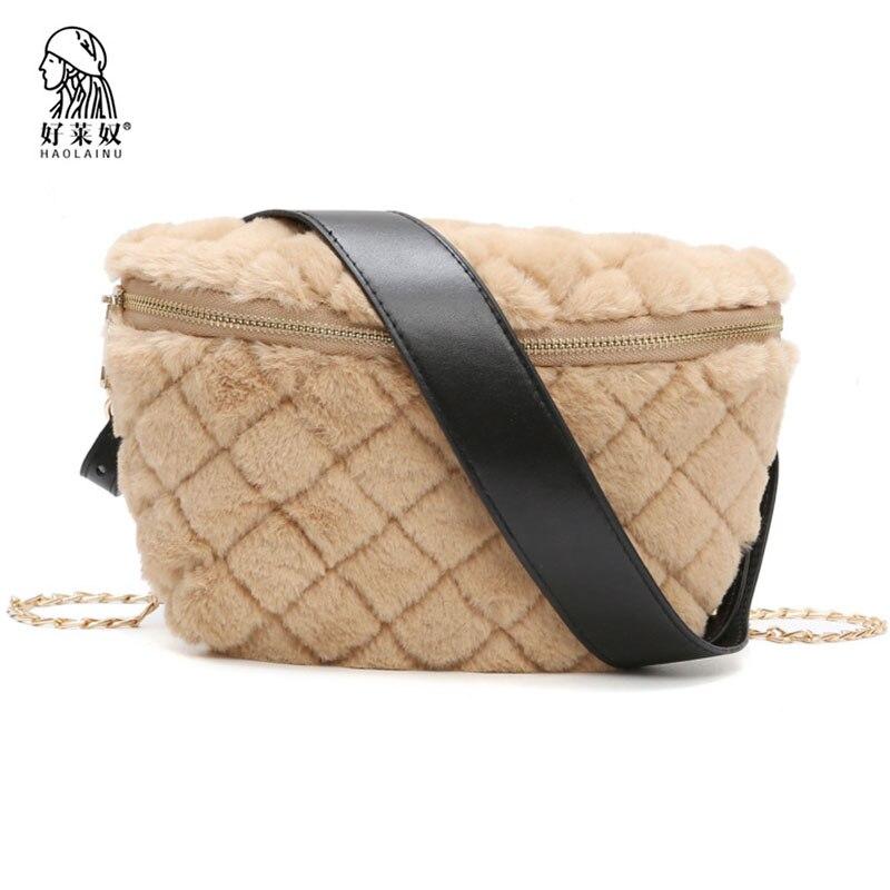 100% Waar Fashion Vrouwen Faux Fur Fanny Pack Plaid Bont Taille Tas Voor Meisje Winter Reizen Riem Telefoon Bag Luxe Kettingen Schouder Tas Handtassen