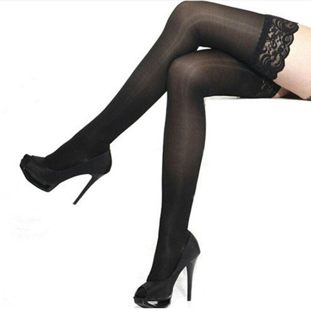 Sexy Lady's Sheer Lace Top Stay Up Thigh-High Stockings Woman Pantyhose Thin See Through Hosiery Durable Elastic Stockings