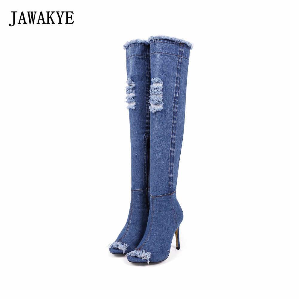 JAWAKYE Sonbahar mavi denim Diz çizmeler kadın Elastik Cut Çıkışları Kış yüksek topuklu peep toe kot Uyluk yüksek çizmeler kadın
