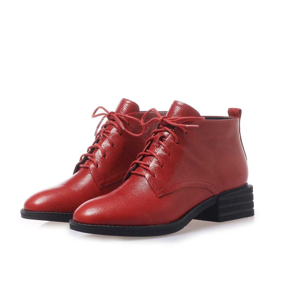 Krazing وعاء جديد وصول الأغنام جلدية جولة تو ميد كعب الدفء الدانتيل يصل البريطانية مدرسة الفتيات الصغيرات أوكسفورد حذاء من الجلد l56-في أحذية الكاحل من أحذية على  مجموعة 2