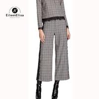 2017 Pantalones Largos de la Manera Vendimia de Las Mujeres Pantalones de Encaje Lateral Pantalones Retro Plaid Pantalones Pantalón de Pierna Ancha