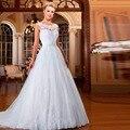 Vestido Де Noiva-Line Короткое Cap Рукавом Длиной до пола, Аппликации Настроить Кружева Китай Дешевые Свадебное Платье Невесты На Складе