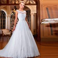 Vestido De Noiva A Linha Cap Manga Curta Pavimento Length Apliques Customize Lace China Baratos Do Casamento Vestido de Noiva Em Estoque