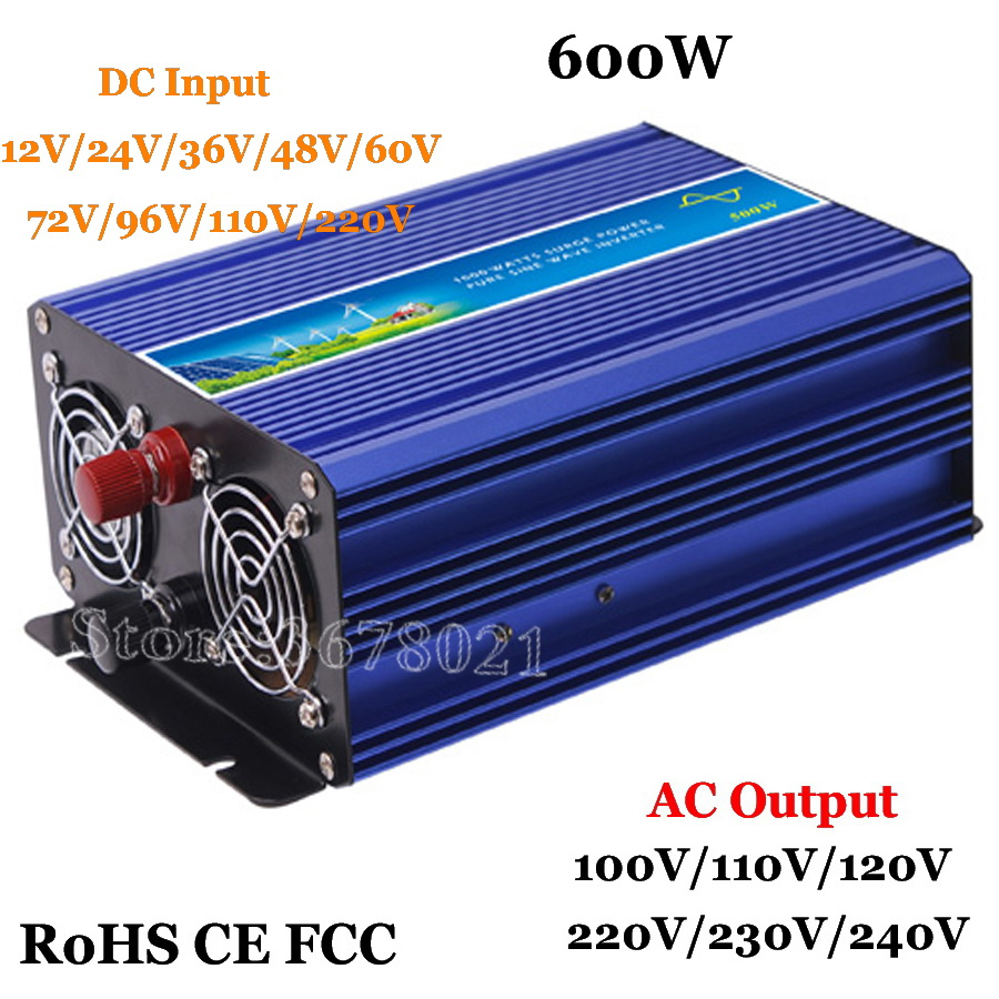 Onduleur hors réseau 600 W, système solaire et éolien à onde sinusoïdale pure 12 V/24 V/36 V/48 V/DC à AC 100/110/120/220/230/240/V