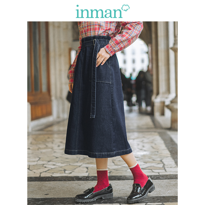 INMAN Spring Autumn Elastic Waist Fashion All Matched Patch Pocket Casual Literary Retro Women Medium Jean Skirt