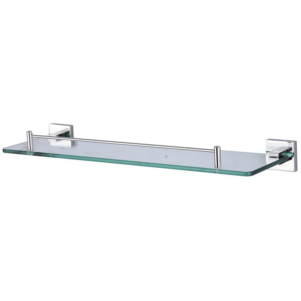 KES A2520 Bathroom Lavatory Glass 1-Tier Shelf Wall Mount, Polished Stainless Steel Post glass shelf wall mounted chrome single tier glass bathroom shelves with 304 stainless steel and copper shower shampoo holder